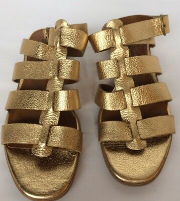 89f0ab527297 New Lucky Brand Cabana Women Gladiator Sandals Leather Shoes 6 Metallic Gold
