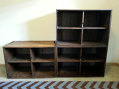 Antique John Danner Oak Stacking Storage Bookcase Wall Units Ex Library 6 Total