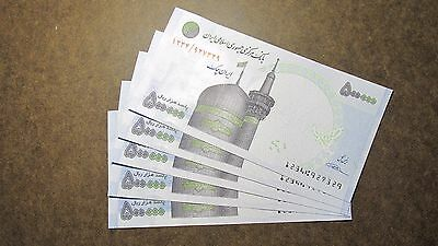 LOT of  5X 500,000 Rials Crisp-Uncirculated, Iranian Genuine Currency