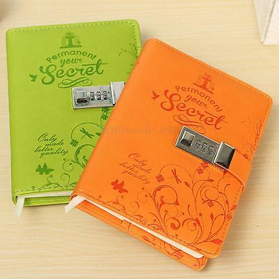 Leather Cover Notebook Journal Secret Diary Blank Sketchbook With Password Lock