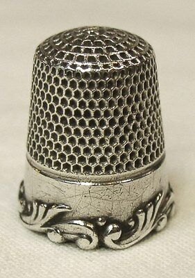 Antique Ketcham & McDougall Sterling Silver Thimble   Louis XV Scroll Rim