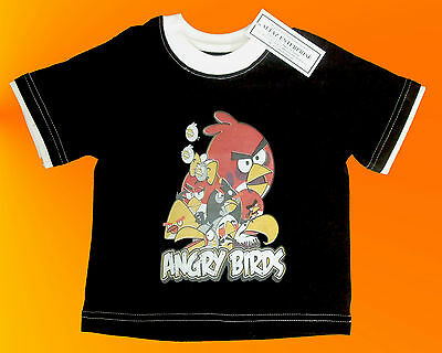 Black Angry Birds Baby Girls Or Boys T Shirt. 2 Years.