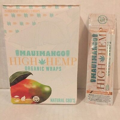 High Hemp Maui Mango Herbal Organic Wraps 100 Packs 2 Wraps Per Pack 200 Total