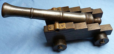 Large Impressive Antique Desktop Model Cannon On Wooden Carriage