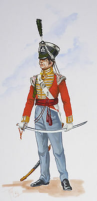 Orig. Military Watercolour Painting - Officer 13Th Somerset Infantry - 1822