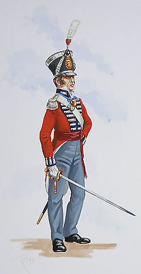 Original Military Watercolour Painting - Officer 2Nd Queens Royal Foot - 1822