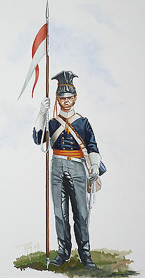 Orig. Military Watercolour Painting -Trooper Of The 17Th Lancers - 1854 - Crimea
