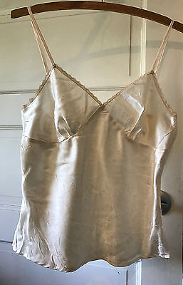 """Vintage Camisole Pale Pink Zips on Side Woven Polyester Satin 35"""""""