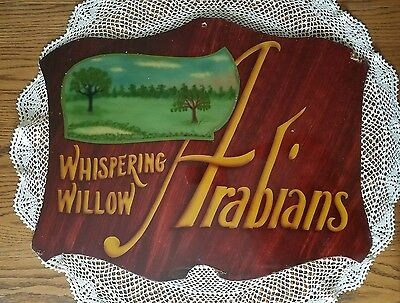 "Vintage Arabian Horse Whispering Willow Farm Sign 18.5""×23.25""  Hand Painted"