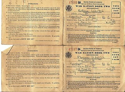 WWII US Office Of Price Administration 2 Empty War Ration Book Two 47687 47688
