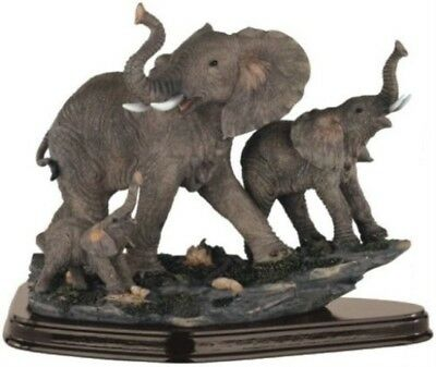 Family of Wild life Elephant Animals Figurine Statue Sculptur Craftsmanship Gift