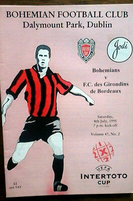 Bohemians V Bordeaux 8/7/1995 Uefa Intertoto Cup