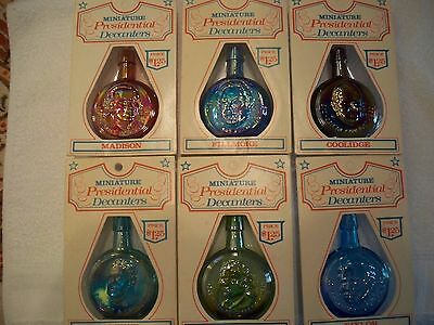 VINTAGE WHEATON  MINI PRESIDENTIAL DECANTERS ( 6 ) -  w/ original blister pack