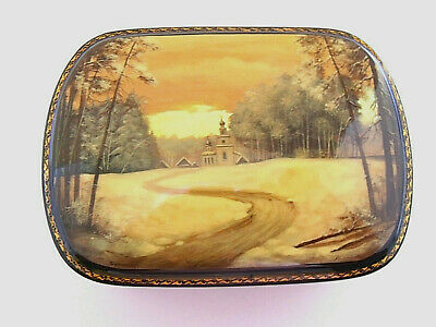 Fedoskino lacquer box with landscape scene signed by artist