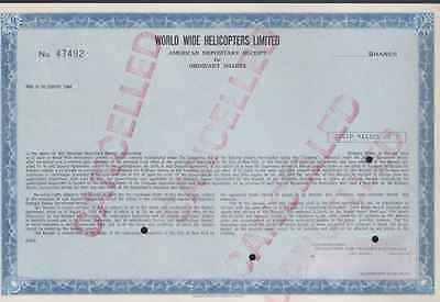 World Wide Helicopters Limited * Stock Certificate *