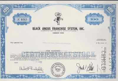 Black Angus Franchise System, Inc. * Stock Certificate *