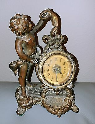 Winding Clock New Haven Cherub Rococo Style (?) Antique Vintage Bronze