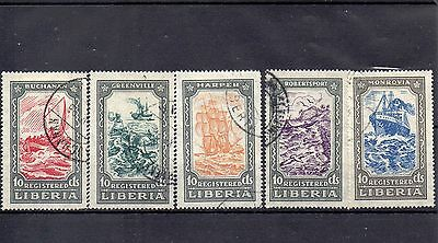 LIBERIA 1923 REGISTRATION SG R499 to R503 VFU THEMATIC SHIPS.