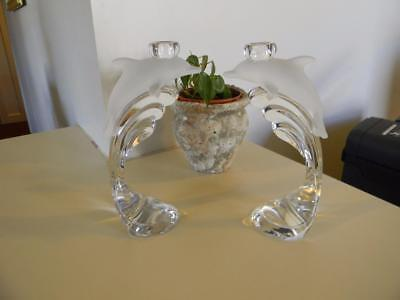 Lenox Crystal Glass Dolphin Figurines Candle Sticks Holders