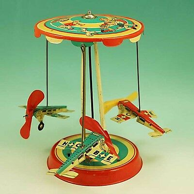 Vintage 1950s Hoch & Beckmann Wind Up Tin Toy Airplane Carousel US Zone Germany