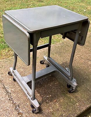 FAB VTG 1950s Mid Century Industrial Metal Typewriter Table Desk Drop Wheel