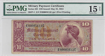 $10 Series 521 Military Payment Certificate Usa Pmg 15 Choice Fine Net