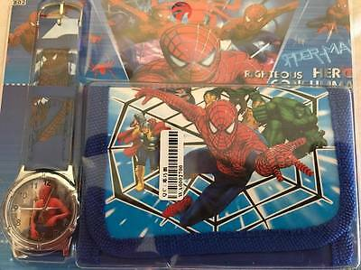 --Kids Watch Wallet Set Spider Man  Boys Girls Aussie Seller Children