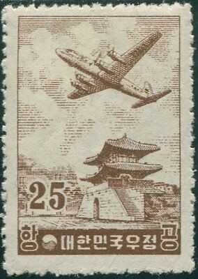Korea South 1954 SG216 25h brown Douglas DC-3 airplane over freighter MLH
