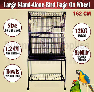 Parrot Aviary Bird Cage Budgie Canary Rat Stand-Alone on Wheels Large NEW 162 CM