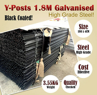 Black Coated Y-Posts 1.8 M Rural 'Y' Steel Fence Post Fencing DIY BNE