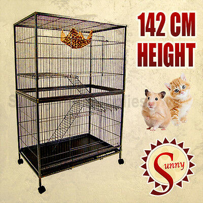Bird Cage Parrot Aviary Ferret Pet Cat Hamster Rat Budgie Stainless Wheel 142CM
