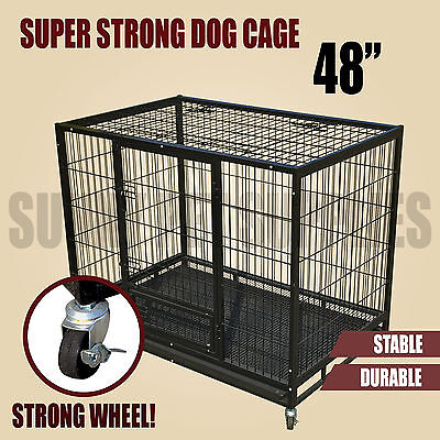 "48"" Heavy Duty Pet Puppy Dog Kennel Cage Crate Castor Wheels Durable Playpen"