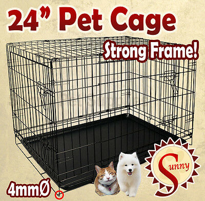 """24"""" Small Pet Puppy Dog Cage Collapsible Metal Crate Kennel Cat Rabbit BNE"""