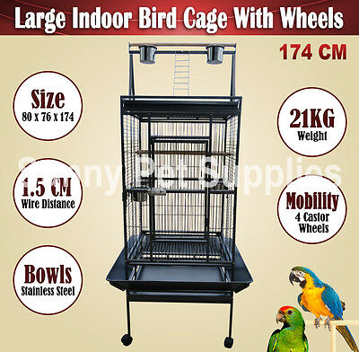 Pet Bird Cage Parrot Canary Aviary On Castor Wheels Large Black 174 CM Brisbane