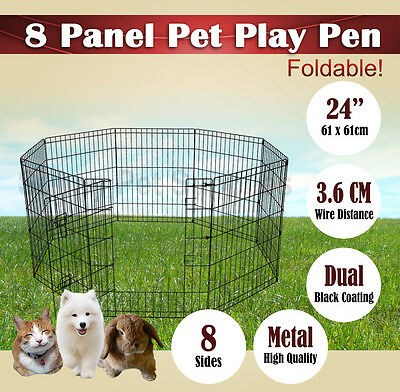 "24"" Panel Pet Playpen Dog Cat Puppy Rabbit Fencing Exercise Barrier Enclosure bn"