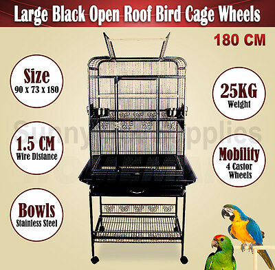 Large 180 CM Bird Cage Parrot Canary Aviary Open Roof On Castor Wheels In Black
