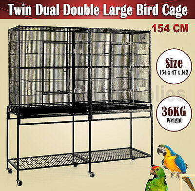 Large 154CM Twin Dual Double Sided Pet Bird Cage Parrot Cockatoo Aviary