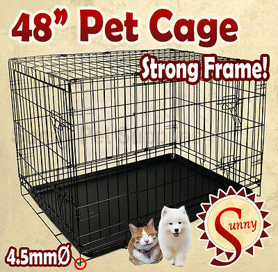"""48"""" XLarge Size Collapsible Pet Puppy Dog Cage Metal Crate Kennel Rabbit House"""