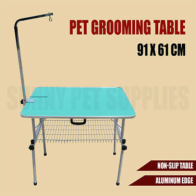 91cm x 61cm Pet Grooming Table Dog Cat Legs Arm Height Adjustable Bench Folding