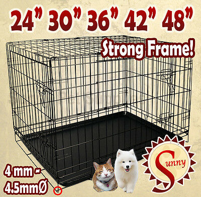 "24""/30""/36""/42""/48""/ Pet Dog Cage Collapsible Metal Crate Kennel Cat Rabbit"
