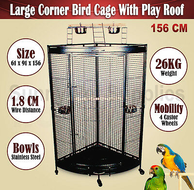 Large Corner Bird Cage Parrot Aviary With Play Roof Top Ladder On Wheels 156 CM