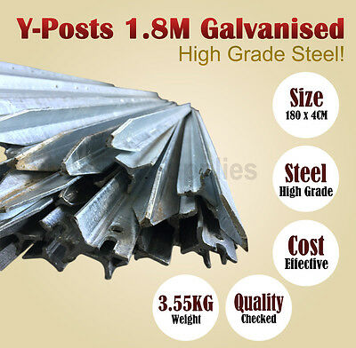 Y-Posts 1.8 M Galvanised Rural 'Y' Steel Fence Post Fencing DIY BNE