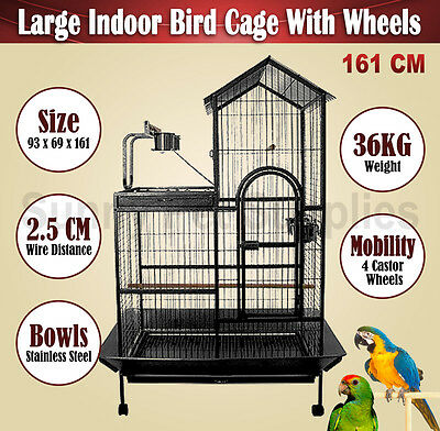 161cm Large Bird Aviary Parrot Macaw Cockatoo Cage Pet Supply Perch Roof Gym