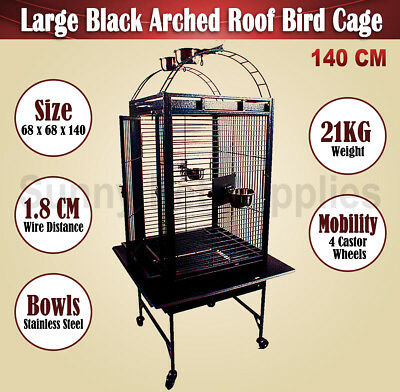 Bird Cage Parrot Aviary Pet Stand Alone Budgie Castor Wheels Arched Roof 140CM