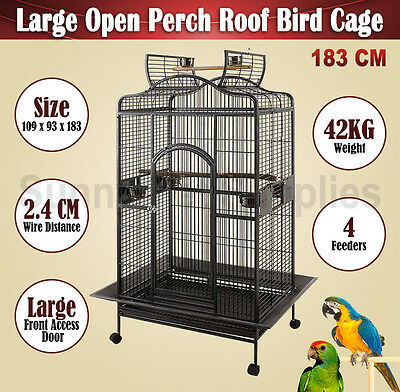 Large 183 CM Parrot Aviary Bird Cage Open Perch Roof Cockatoo Canary Wheel