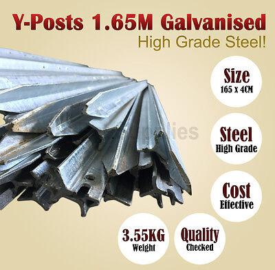 Y-Posts 1.65 M Galvanised Rural 'Y' Steel Fence Post Fencing DIY BNE