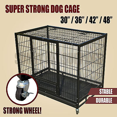30 / 36 / 42 / 48 Heavy Duty Dog Kennel Cage Crate Castor Wheel Durable Playpen