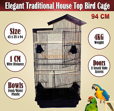 Pet Bird Cage Parrot Aviary Canary Budgie Finch Black Medium Portable Cage 94CM