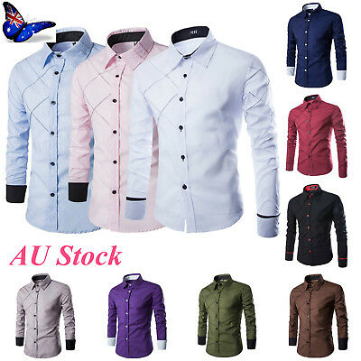 Mens Long Sleeve Casual Shirt Dress Formal Button Business Wedding Slim Fit Top