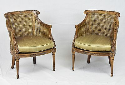 Pair of Cain Chairs Carved Swan Neck Arms Gold Fabric Seats